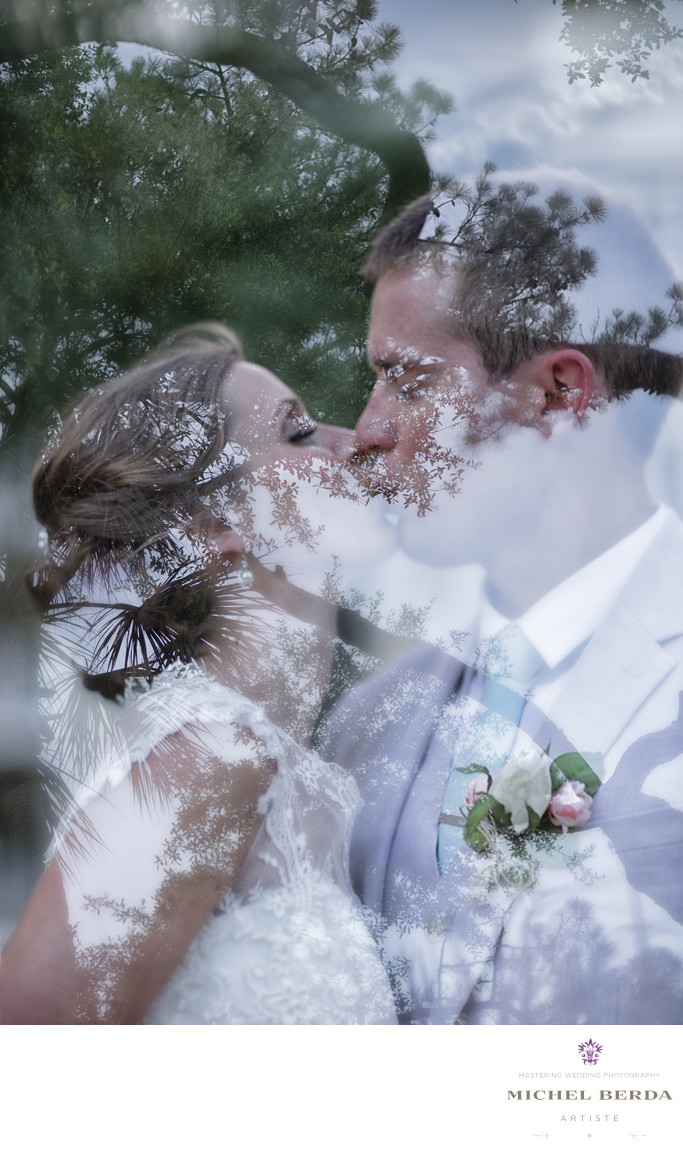 Double exposure bride and groom Weddings Palmetto Dunes Oceanfront Resort