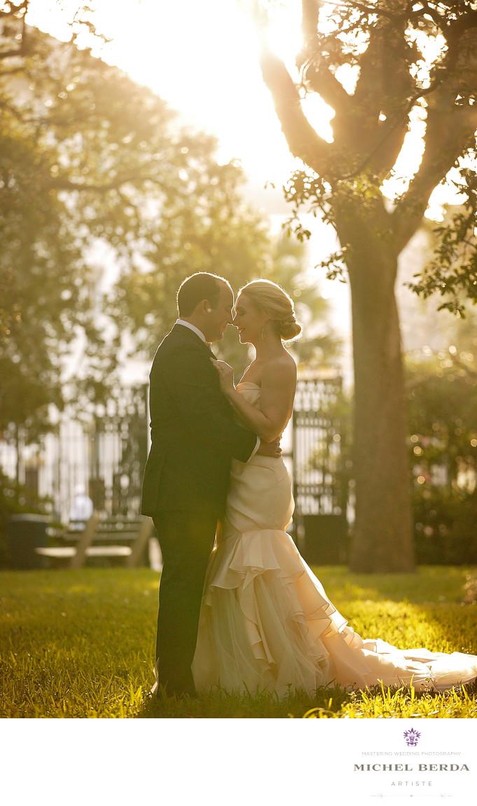 Bride & Groom Sun Burst Washington Square Park Charleston SC