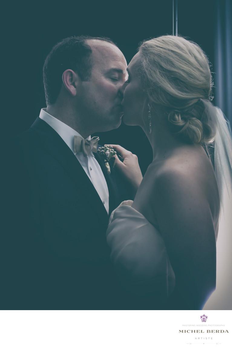 Bride And Groom Kiss At Hibernian Hall Charleston SC