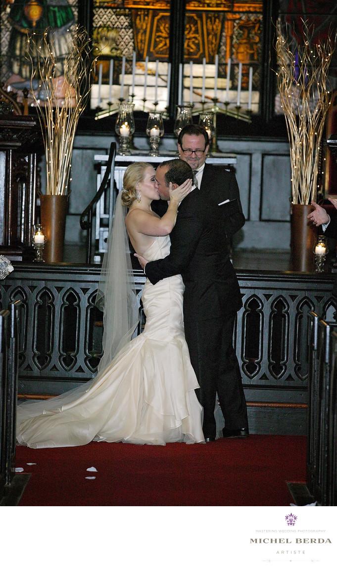 Bride And Groom Kiss At The Unitarian Church Charleston SC