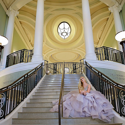 Gaillard Center Staircase Bridal Portrait Photographer