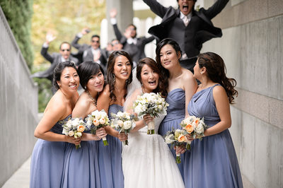 Skirball Bridal Party Jumping Portait