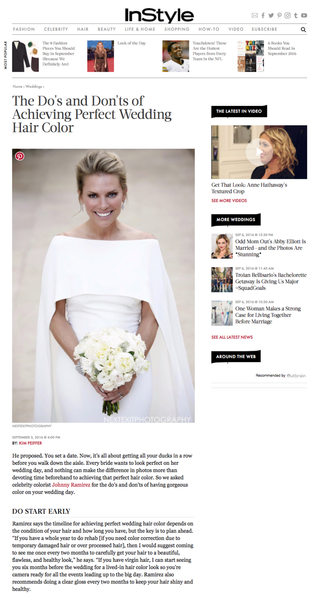 InStyle Magazine Do's and Don'ts of Wedding Hair Color