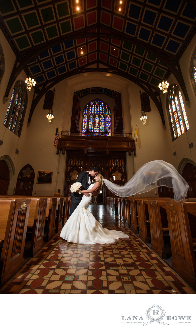 St. Agnes cathedral wedding kiss and veil