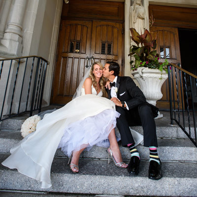 St Agnes Cathedral bride and groom kiss