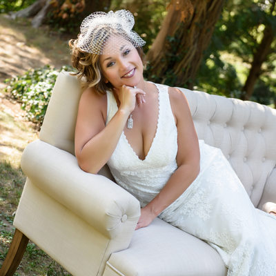 Bates House wedding Bride on couch