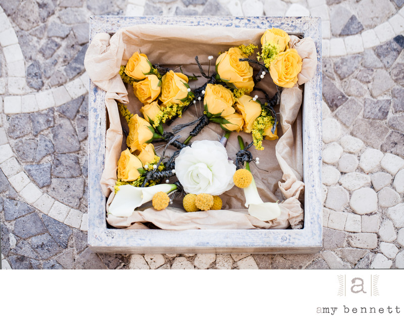 box of yellow roses