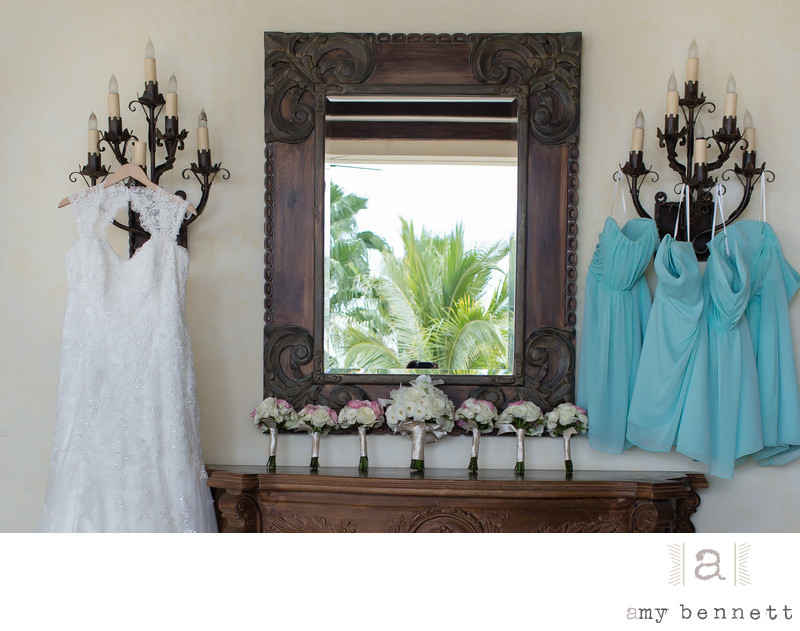 brides and bridesmaids dresses and bouquets