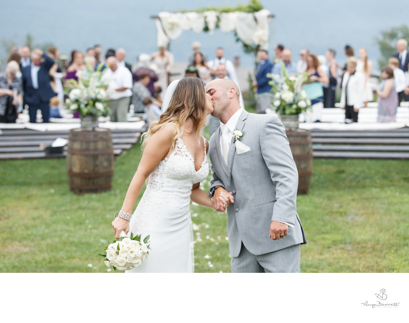 Bride and Groom Recessional Kiss