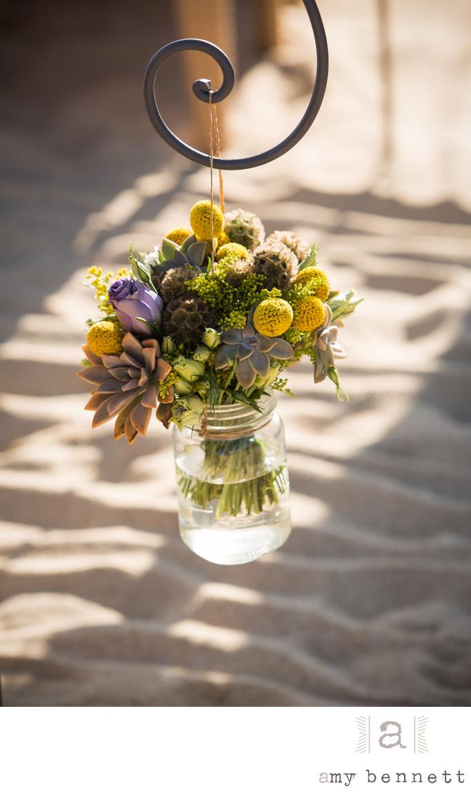 flowers in glass mason jar