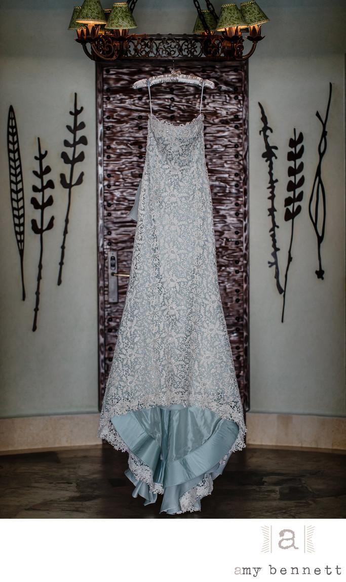 bride's blue wedding dress