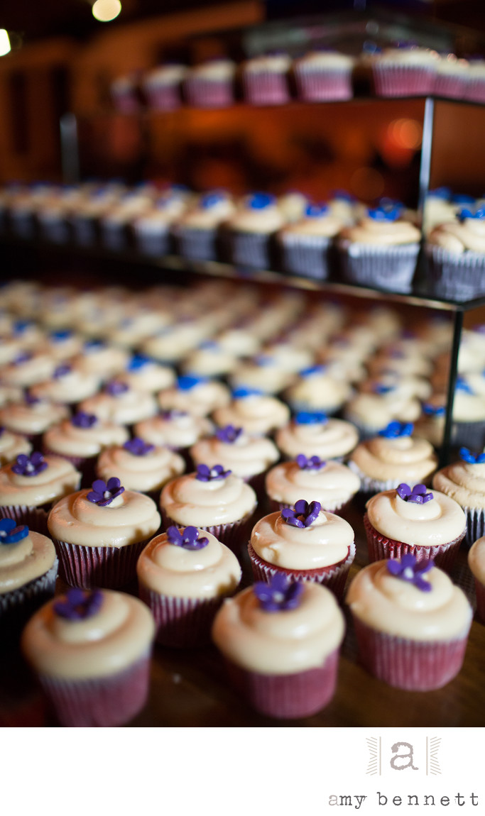 purple and blue flowered cupcakes