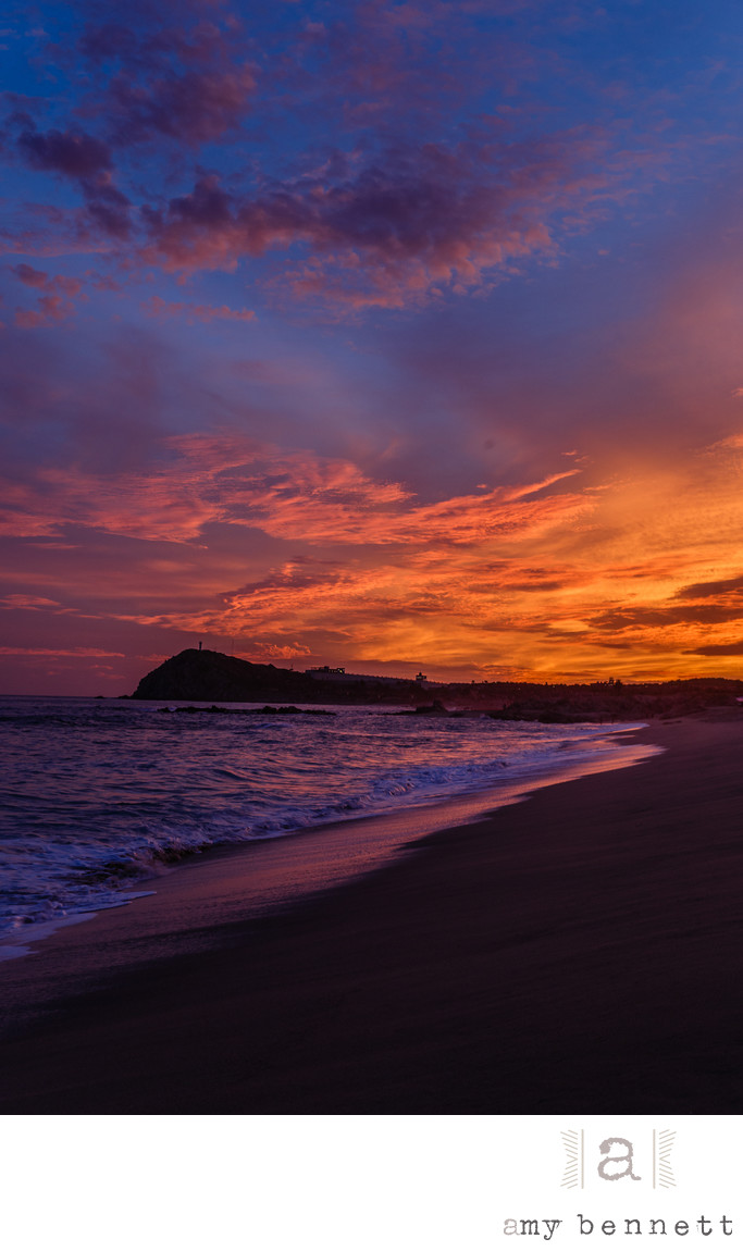 colorful sunset at beach