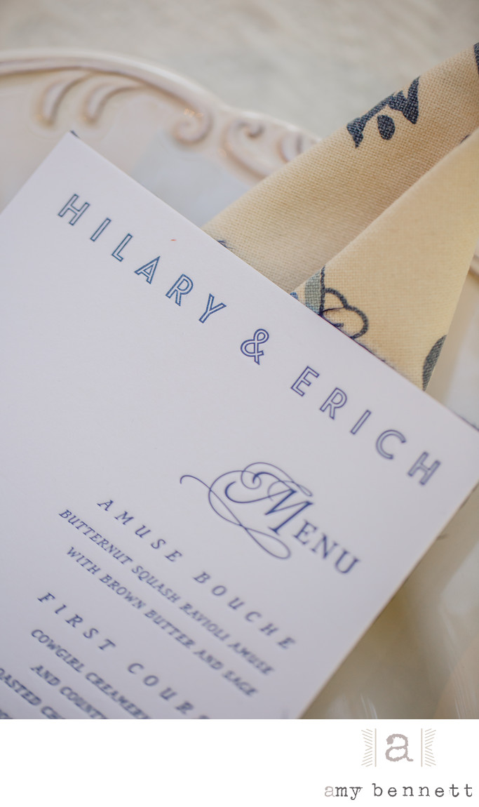 blue font wedding menu