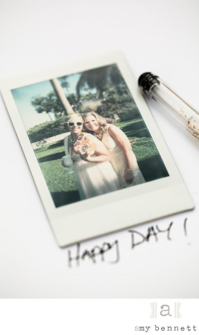 polaroid of bride and bridesmaid