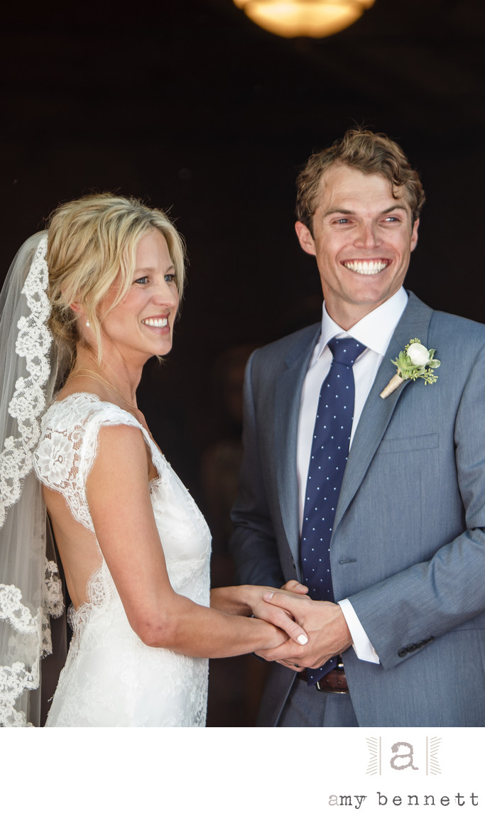 Happy Bride and Groom at Ceremony in California