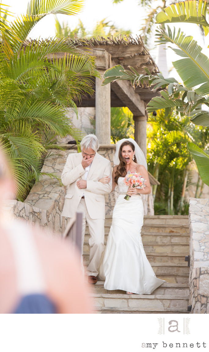 Excited Bride and Emotional Father Walk Down Aisle