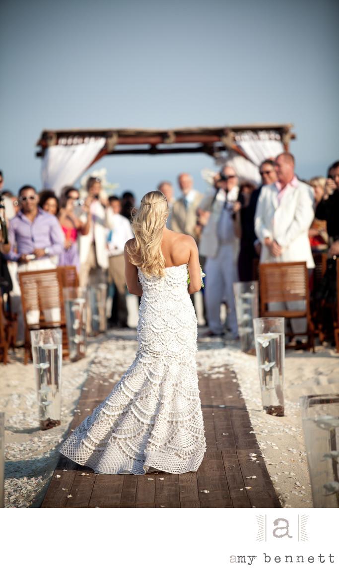 Blissful Bride Walks Down Aisle