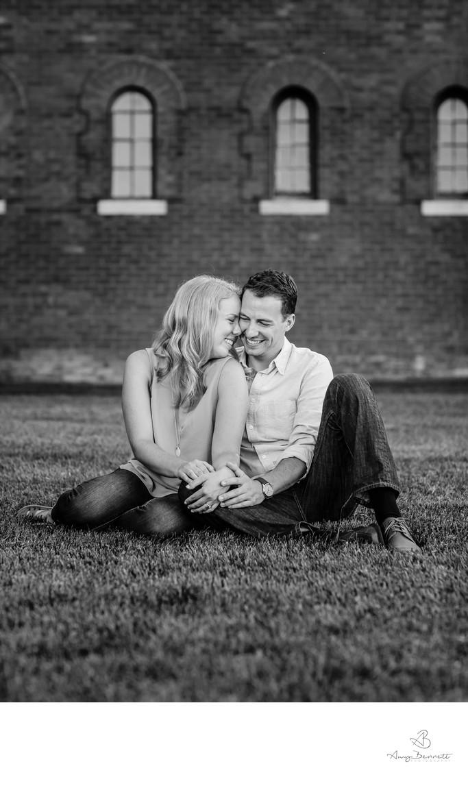 Blissful Engaged Couple Black and White