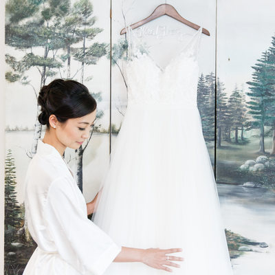 Blissful Bride With Wedding Dress