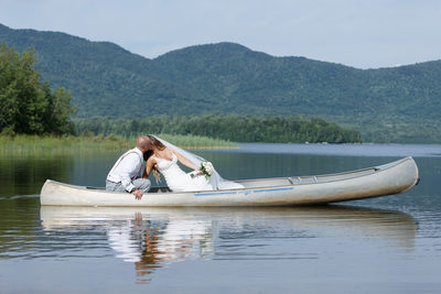 Bride and the Groom in a little canoe