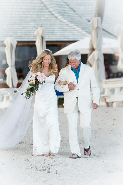 Bride and Father Beach Aisle