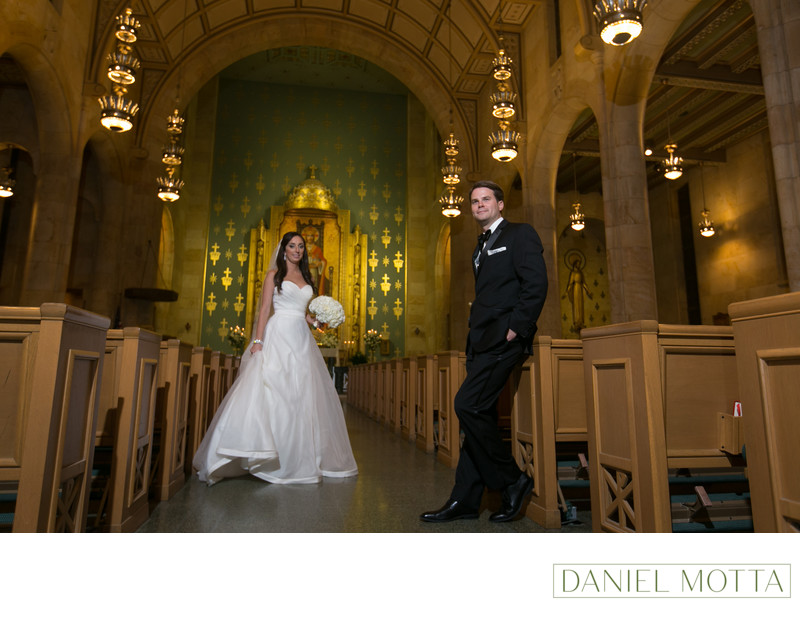 Bride and Groom at Christ the King Catholic Church