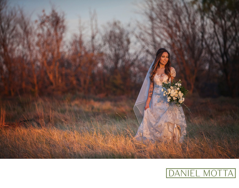 Sunset Bridal Portrait at Arbor Hills Nature Preserve
