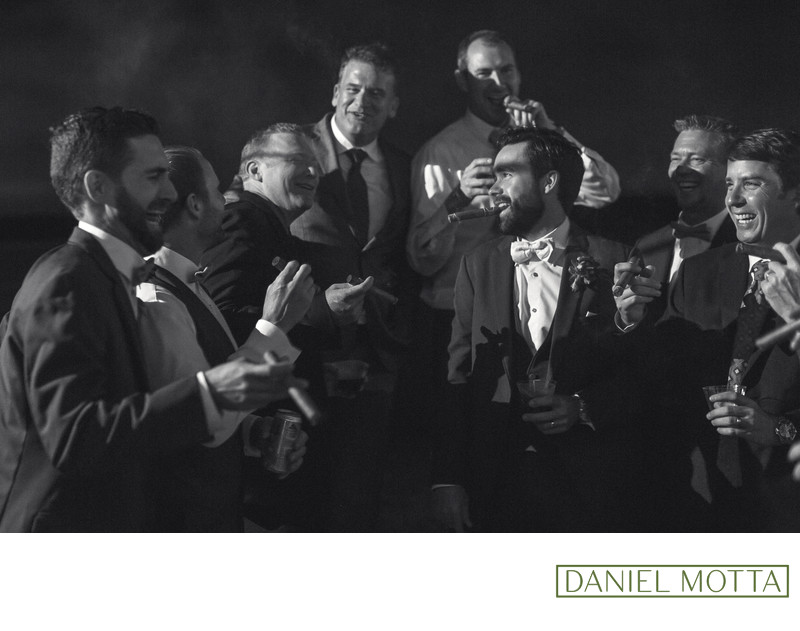 Dallas Wedding Photography of Groomsmen Smoking Cigars