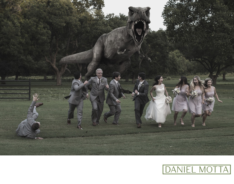 Wedding Photograph of T-Rex Chasing Bridal Party