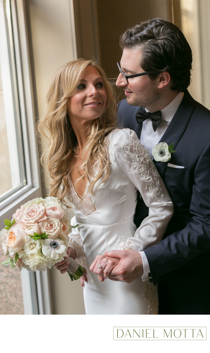 Bride and Groom at Crescent Court Hotel in Dallas