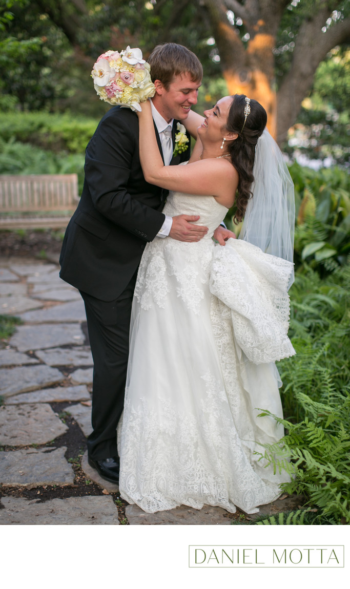 Bride and Groom at St. Monica Catholic Church in Dallas