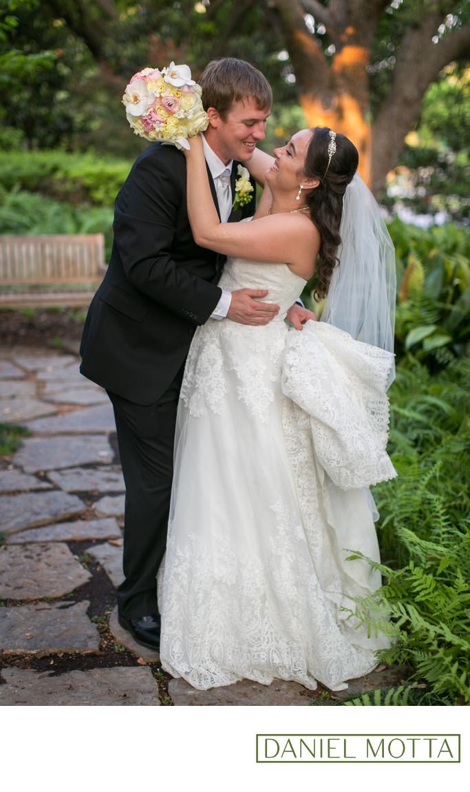 Dallas Photograph of Newlyweds Laughing at Wedding