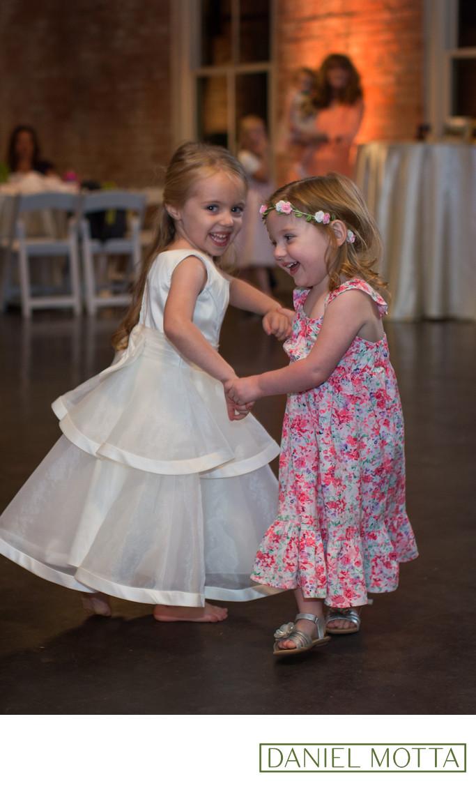 Flower Girls Dancing at Dallas Wedding Reception