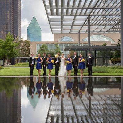 Wedding Photo of Bridal Party at Dallas Reflection Pool