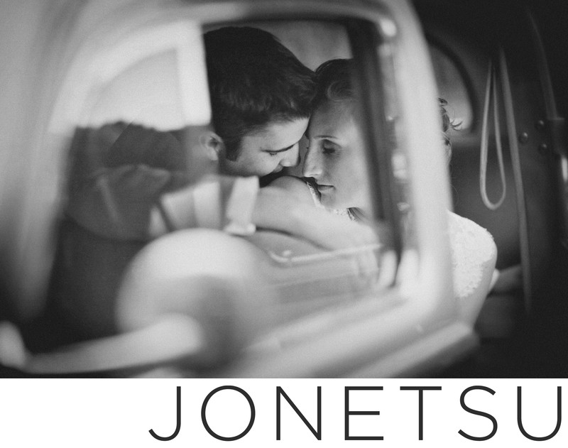 Vintage car wedding portrait intimate black and white