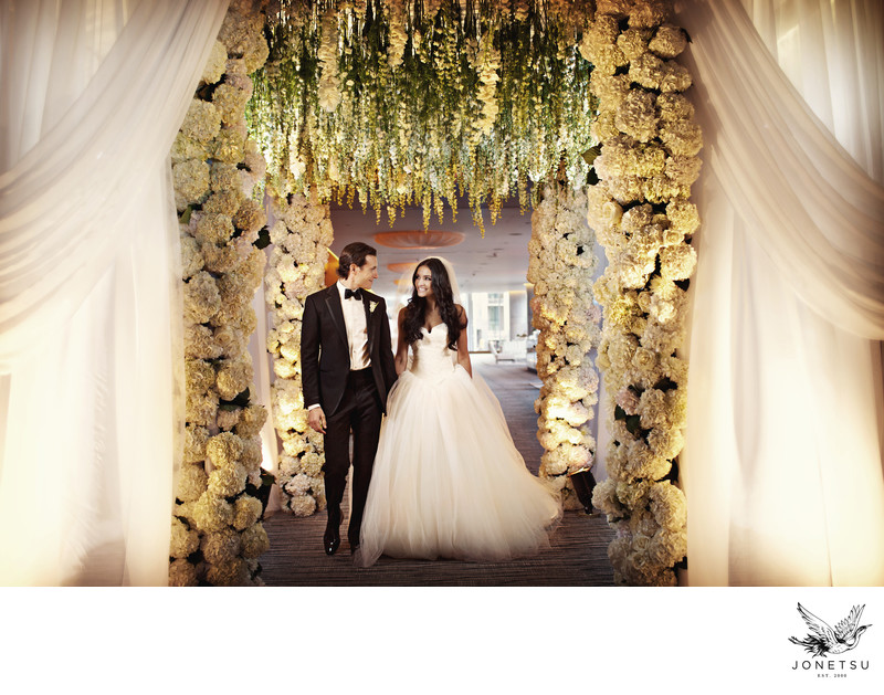 Vancouver wedding with floral entry to Fairmont Pac Rim