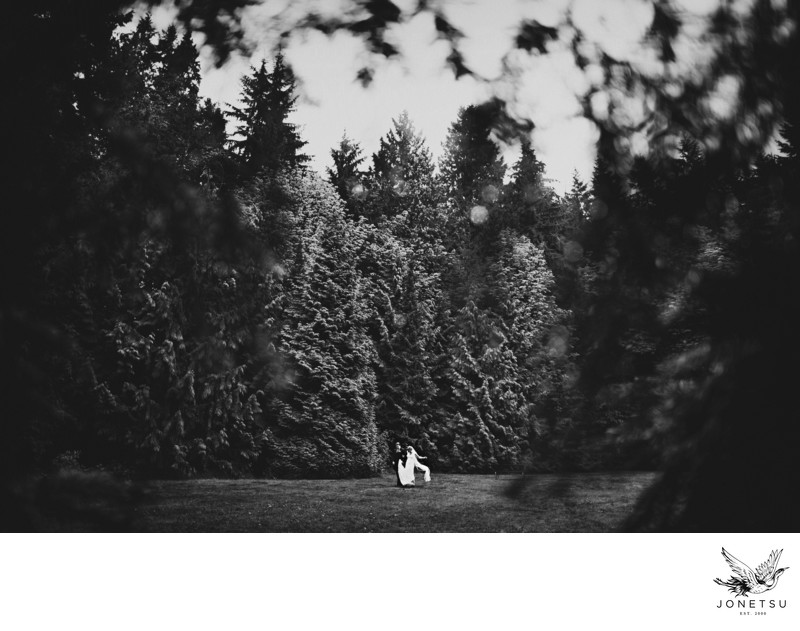 Stanley Park wedding photos in the rain fine art