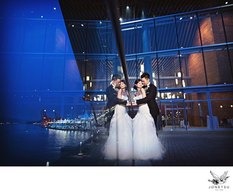 Vancouver Convention Centre wedding portrait reflection