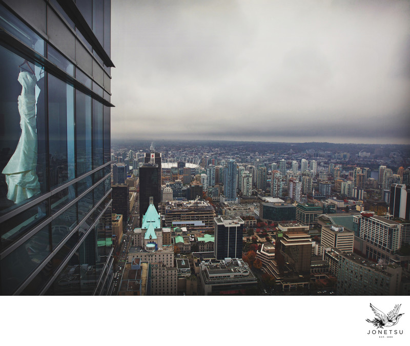 Shangri La Hotel Vancouver skyline wedding dress