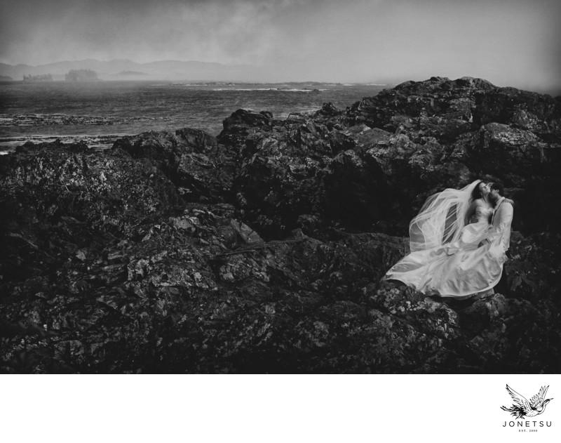 Tofino wedding portrait luxury bridal gown Mendoza