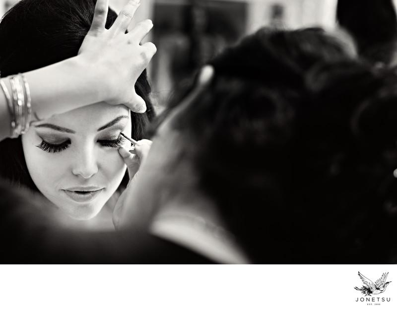 Makeup artist does brides eye makeup in Burnaby