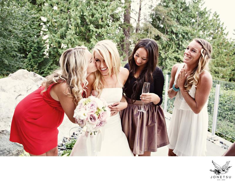 backyard estate wedding girlfriends congratulate bride