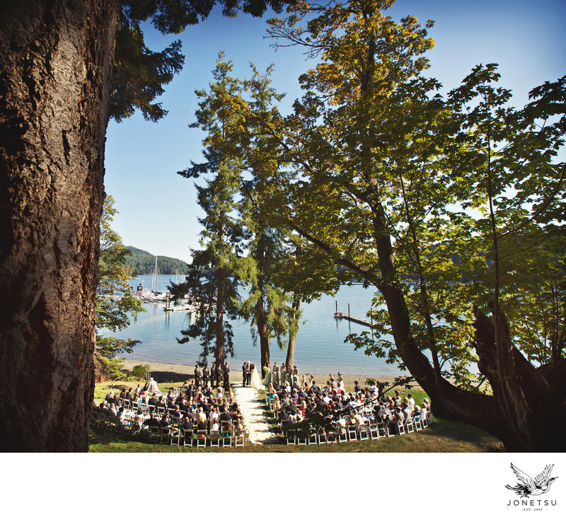 Pender Island backyard wedding ceremony