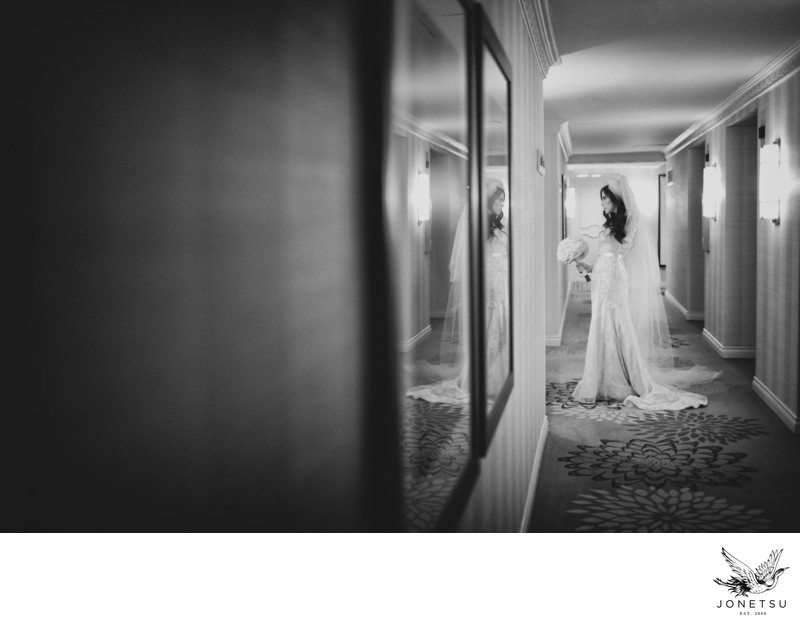 Candid bridal portrait in Four Seasons Vancouver