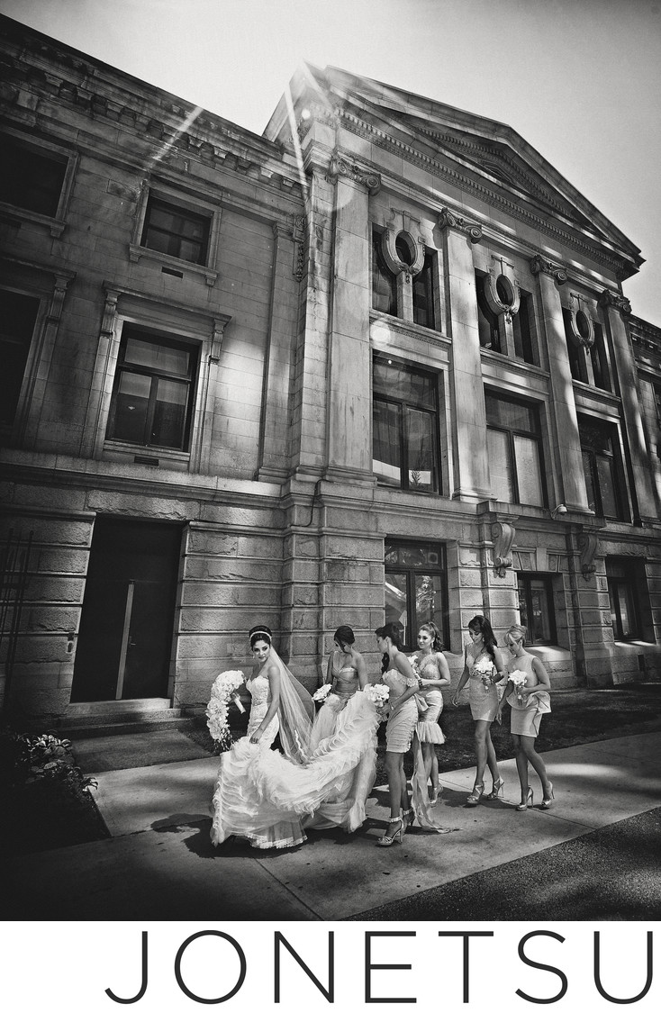 Vancouver Art Gallery wedding party and bride walking