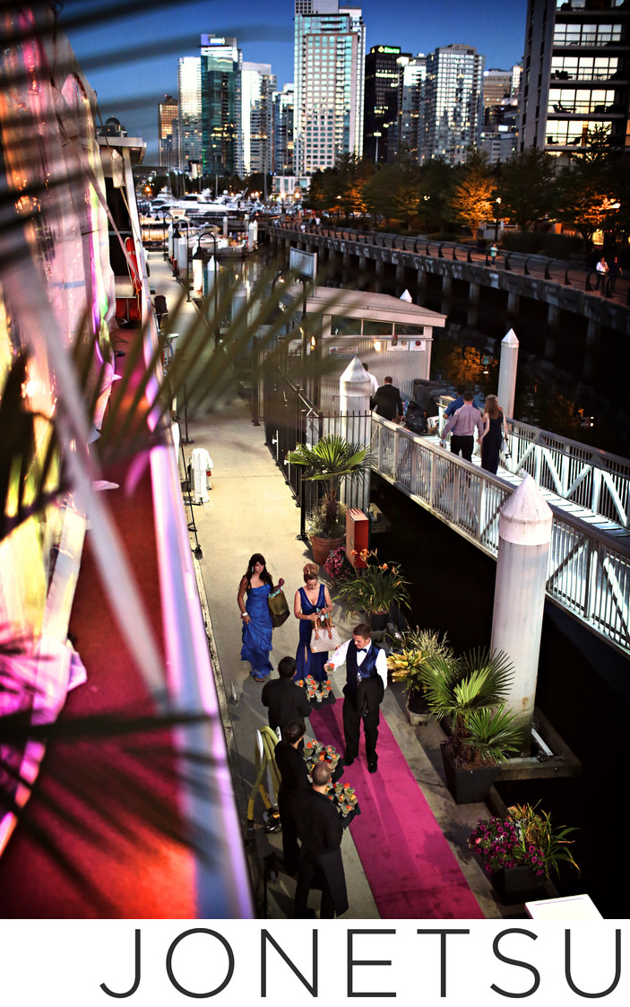 Wedding yacht pink carpet welcome