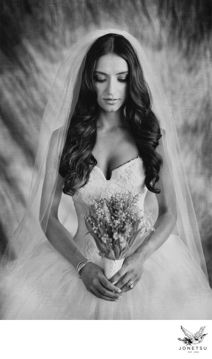 Quiet bridal portrait with classic backdrop