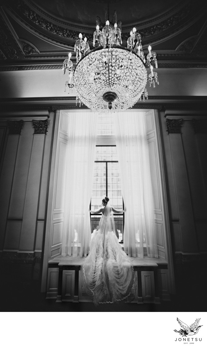 Dramatic bridal portrait in Hotel Vancouver stairway