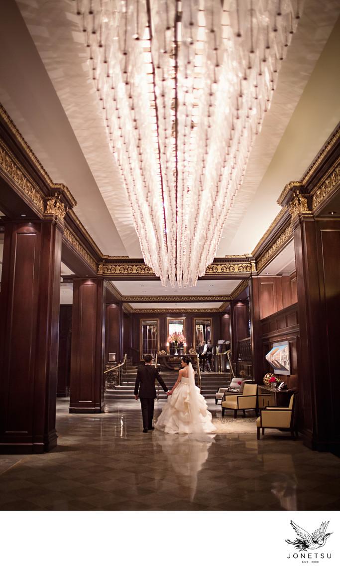 Vancouver Hotel Georgia lobby wedding portrait